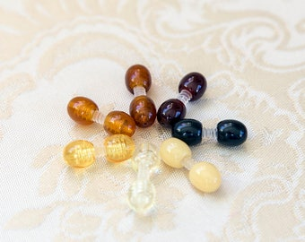 Plastic screw clasp, 1 piece, used for amber jewelry , pick your color, honey, cognac, yellow, milky yellow, matte, transparent, black