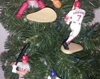 Ivan Pudge Rodriguez, Rueben Sierra, Jaun Gonzalez Nolan Ryan Texas Rangers baseball Christmas Ornaments