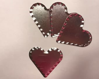 4 tin silver color country hearts, 2 x 2 1/4 inch
