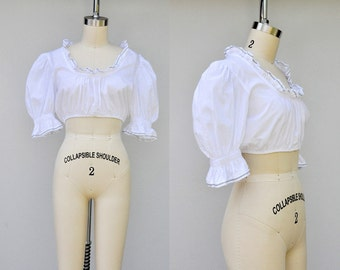 White Crop Top Victorian Inspired 70s 80s White Peasant Blouse Dirndl Blouse Pirate Blouse Gypsy Boho Cotton 3/4 Sleeves size S - M