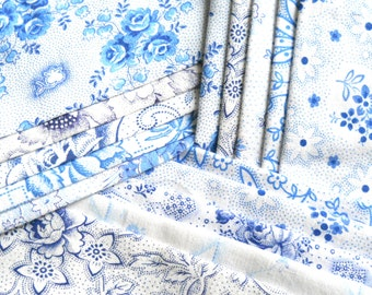 vintage fabric bundle blue floral fabric patchwork quilting french dutch german fabric  15 pieces shabby fabric