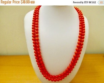 On Sale Vintage Orange Glass Hand Knotted Beaded Necklace Item K # 2308