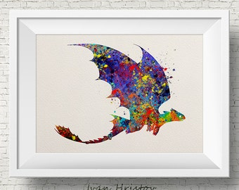 Hiccup Toothless Night Fury How to train your DRAGON 2 Inspired Watercolor Art Print Wall Art Poster Wall Decor Art Home Decor Wall Hanging