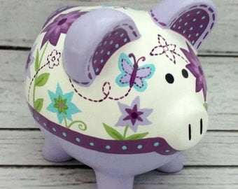 Personalized Piggy Bank, Artisan hand painted ceramic piggy bank ~  Lavender, purple, aqua and green garden floral design