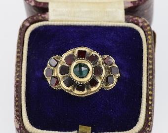 An authentic Georgian garnet rare 22 Kt gold ring