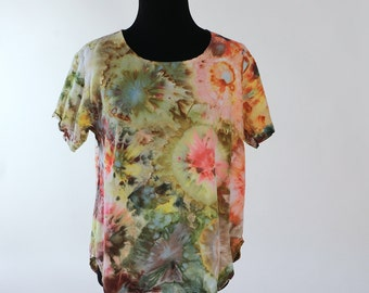 Size Small  Rayon    Blouse, Ice Dyed Tie Dyed Agate, Citrus Colors,  READY To SHIP