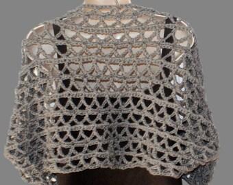 Crochet Shrug, XL Bolero, Womens Bolero, Plus Size Shrug, Clothing Plus Size, Womens Plus Size, XL Clothing, Layered Look, Gray Shrug