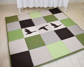 Baby Play Mat, Baby Mat , Baby Activity Mat, Duck Baby Playmat, Playroom Decor, Green, Brown, Raw