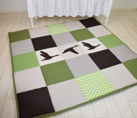 Baby Play Mat, Baby Mat , Baby Activity Mat, Duck Baby Playmat, Playroom Decor, Green, Brown, Raw