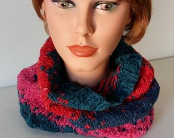 Snood TweedWool Knit Chunky Cowl Scarf,  Cowl, Men's Cowl Woman's Cowl Neckwarmer multicolor