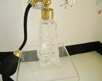Vintage Clear Glass Window Pane Perfume Bottle Atomizer