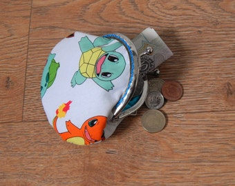 White Pokemon patterned metal frame coin purse - Eevee, Pikachu, Squirtle