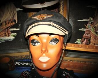 Vintage Harley Davidson Motorcycle Road Captain Biker Hat Cap Size Small
