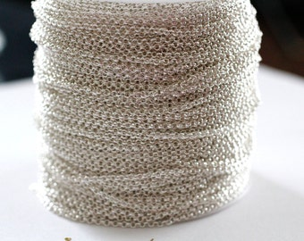 15ft 2mm Silver Rolo Chain links-unsoldered