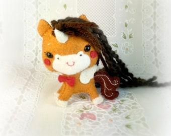 Tiny Felt Gingerbread Unicorn Pegasus