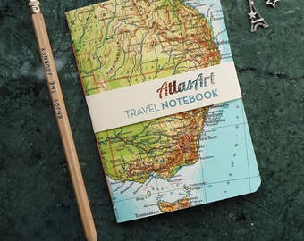 NOTEBOOK SMALL, Australia, Sidney, Brisbane, Tasmania, 32p. plain/ruled, travel journal, diary, notebook, atlas, map, vintage, upcycling