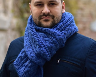 Extra Long Mens Scarf, Hand Knit Scarf - Winter Blue Chunky Scarf -  Cable Knit Men Scarf - Mens Accessories - For Him - Gift Idea