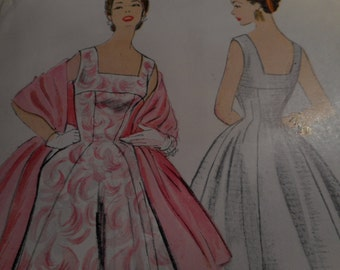 SALE Vintage 1950's McCall's 9793 Dress and Stole Sewing Pattern, Size 14 Bust 32
