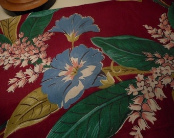 Vintage 1940's Turquoise, Blue, Pink, Chartreuse, Wine Morning Glory Large Floral Cotton Fabric, 2 yards plus