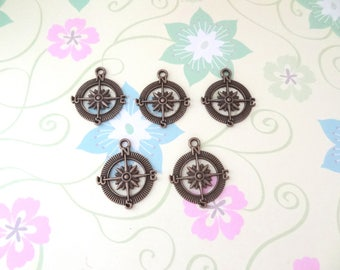 5 pcs - Bronze Compass/Wonderlust/Journey Charm