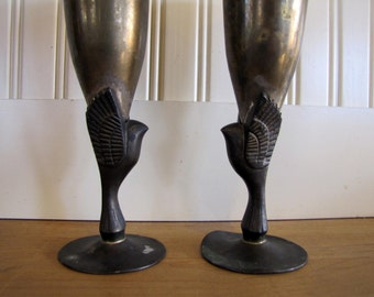 Two 1920's Egyptian Horus Brass and Silver Plate Goblets, Egyptian, 1920, Souvenirs, Goblets, Horus, Egyptian Bird God, Hieroglyphics, Egypt