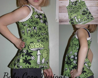 Girl Tank Top in organic cotton lycra - Mushrooms in Moss Green - sizes 4T - 14 - made to order
