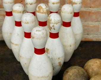 Vintage Wooden Bowling Pins and Balls Set
