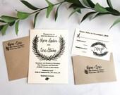 Winter Wedding Invitation Stamp Suite - Invitation, RSVP and Address Stamps - Custom Wedding Invite - Invitation Stamp - Winter Wreath H6102