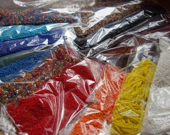 Seed Beads. Nearly 2 lbs of rainbow assortment of seed beads.