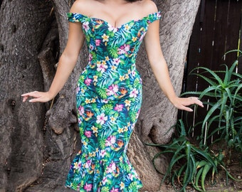 Hawaiian Kalani Mermaid Dress - vintage style custom handmade