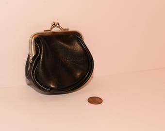 Black Coin Purse with Silver Opening