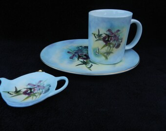 Tea and Snack Set: Hand decorated porcelain