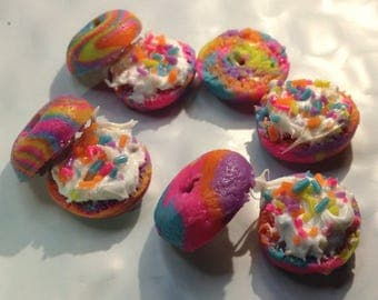 Miniature rainbow bagel