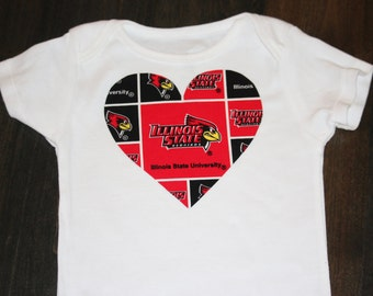 Illinois State Redbirds heart onesie / bodysuit - Illinois baby shower gift - Redbirds Baby outfit - add leg warmers