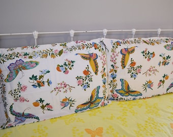 vintage pillowcase pair: butterfly and floral design