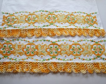 vintage pillowcase pair: orange flower embroidery, cross stitch with tatting tatted lace edge