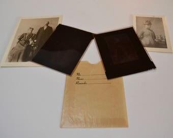 vintage portrait photos with negatives in glassine negative envelope: set of two