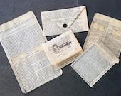5 Handmade Vintage Book Paper Pockets, assorted sizes, for Scrapbooks, Art Journals, Junk Journals, Smash Books