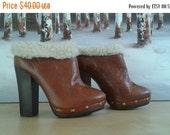 SALE Brown leather platform clogs heels with gold studs sz 38 8 Brazil