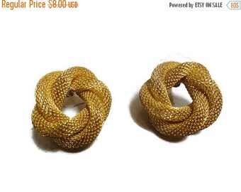 SALE Golden circle earrings woven Vintage 80s