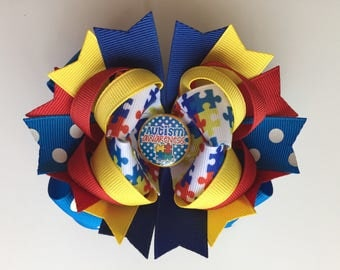 Ready To Ship Hairbow! Autism Awareness Hairbow, Autism Hairbow, Autistic Hairbow, Boutique Hairbow, Girls Hairbow