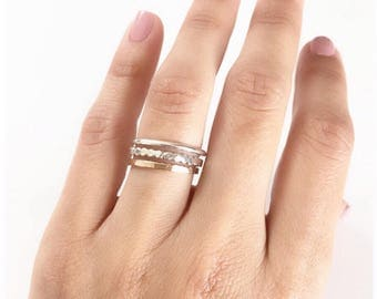 Stacked Ring, Midi Ring, Anniversary Ring, Gold Ring, Bands Rings,Stacking Ring, Hammered Ring, Gold Filled, Rose Gold Filled, Silver
