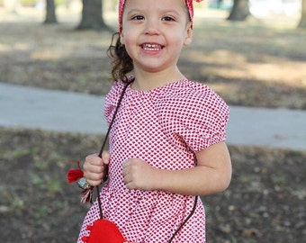 Toddler girl cute peasant blouse - Red hearts peasant blouse - Toddler girl red and white blouse - kids fashion - girls clothes - size 3t