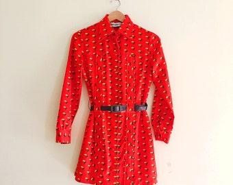 Vintage Mushroom Print Mini Dress // Orange & Yellow Shirt Dress // Novelty Print // Button Down Scooter Dress - 1960s 70s