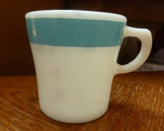 MILK Glass mug blue stripe Corning Glass USA
