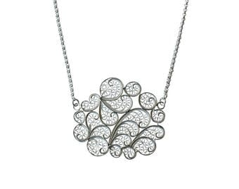 Sterling silver filigree cloud necklace 1