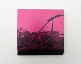 "Roller Coaster, Photo Art Block, 'Joy Ride #3 (Pink)' Limited Edition Image Transfer on 12""x12"" Wood Panel by Patrick Lajoie, amusement park"