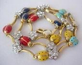 Vintage Ladybug Robins Egg Blue Red Yellow Navy Clear Sparkling Rhinestone Choker Necklace Enamel on Gold Tone Metal Multi Color Elegant