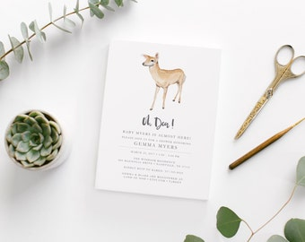 Printable Oh Deer Baby Boy Shower Invitation • Custom Baby Shower Invite • Watercolor Deer Woodland Shower Invitation • Rustic Invitation
