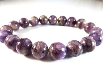 Russian Charoite Stretch Bracelet High Quality 10mm Round Gemstone Iridescent Purple Beads